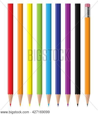 The Pencils. Set Of Colored Pencils Isolated On A White Background. Vector, Cartoon Illustration. Ve