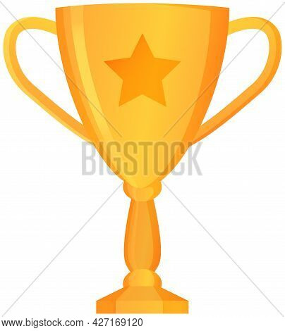 Golden Trophy Cup Isolated On White. Vector Illustration Of Prize With Two Grips. Glossy Award, Firs
