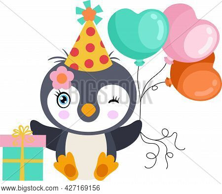 Scalable Vectorial Representing A Cute Birthday Party Penguin With Balloons And Gift, Element For De