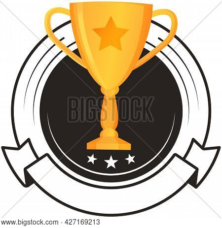 Golden Trophy Cup Badge Isolated On White. Vector Illustration Of Prize With Two Grips. Glossy Award