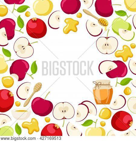 Round Apple, Pomegranate Fruit And Honey Frame. Jewish New Year Holiday. Shana Tova Wreath Isolate O