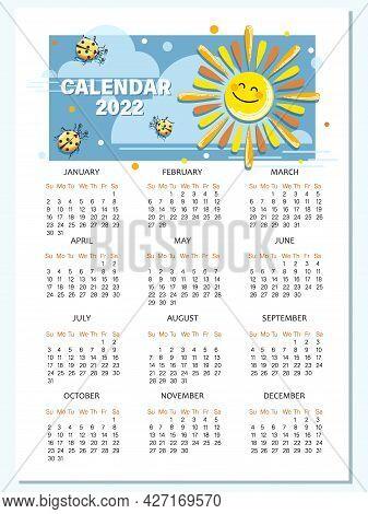 Solar Calendar 2022. Calendar Template With Cartoon Sun, Ladybird.vector Cartoon Character For Child