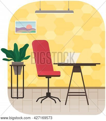 Modern Workplace Flat Design. Office Chair And Office Desk In Cozy Room Interior. Furniture And Equi