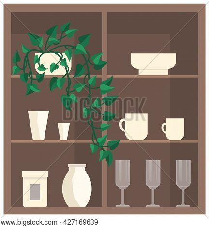 Cupboard With Glass And Porcelain Dishes. Plates, Glasses, Cups And Vases On Shelves Of Wooden Cabin
