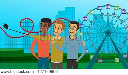 Male Friends With Smartphone Are Making Photo On Cityscape Park Background. Men With Phone On Monopo