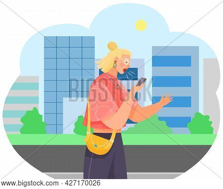 Young Woman With Smartphone Is Recording Voice Message. Modern Means Of Communication. Female Charac