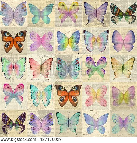 Paper Grunge Newsprint Patchwork Seamless Pattern With Colorful Watercolor Butterflies. Retro Style