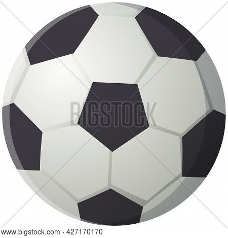 Soccer Ball Isolated On White Background, Black And White Classic Leather Ball To Play Football. Foo