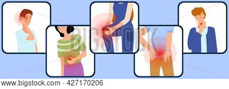 Sad People Suffering From Pain. Painful Sensations Of Sick People. Men And Women Grabs Their Hands T