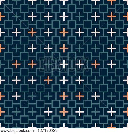 Seamless Square Cross Tile Random Vibrant Teal And Orange Pattern Vector Background