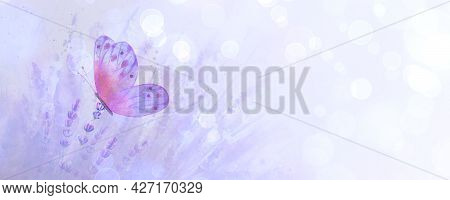 Meadow Lavender Horizontal Background With Colorful Butterfly. Watercolor Hand Drawn Purple Botanica