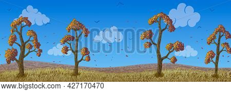 Vector Autumn Deciduous Trees With Orange Leaves On Field.