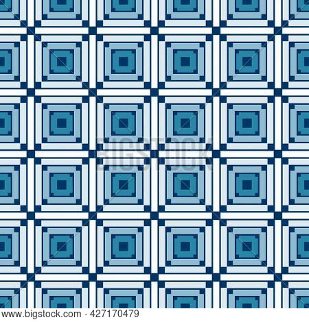 Seamless Square Tile Vibrant Contrast Blue And White Pattern Vector Background
