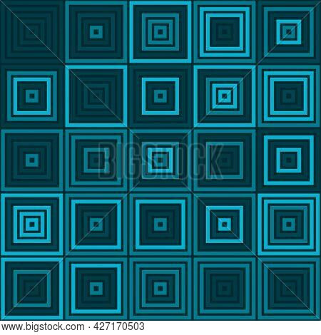 Seamless Square Vibrant Toned Teal Pattern Vector Background