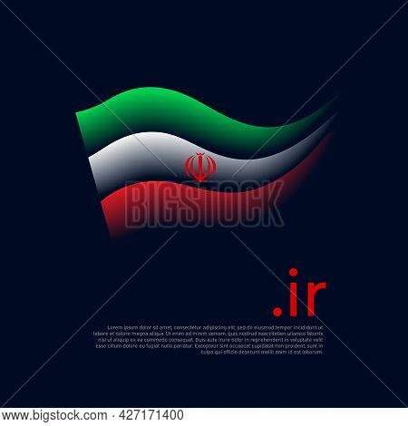 Iran Flag. Stripes Colors Of The Iranian Flag On A Dark Background. Vector Stylized Design National