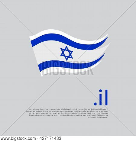 Israel Flag. Stripes Colors Of The Israeli Flag On A White Background. Vector Design National Poster