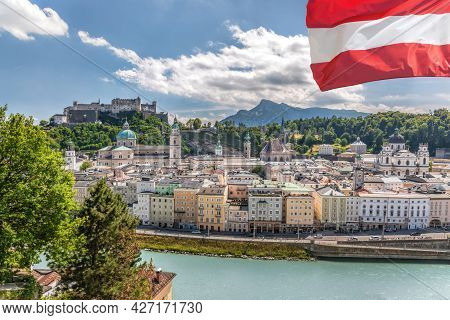 Panorama Of Salzburg With Festung Hohensalzburg  During Summer Time, Salzburg, Austria
