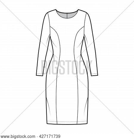 Dress Princess Line Technical Fashion Illustration With Long Sleeve, Fitted Body, Knee Length Pencil