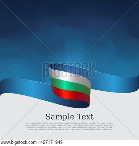 Bulgaria Flag Background. Bulgarian Flag Wavy Ribbon On Blue White Background. National Patriotic Po