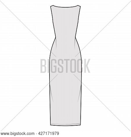 Dress Backless Technical Fashion Illustration With Fitted Body, Floor Maxi Length Pencil Skirt, Boat
