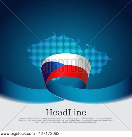 Czech Republic Flag, Mosaic Map On Blue White Background. Wavy Ribbon With The Czech Republic Flag.