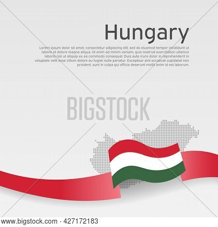 Hungary Flag, Mosaic Map On White Background. Wavy Ribbon With The Hungarian Flag. Vector Banner Des