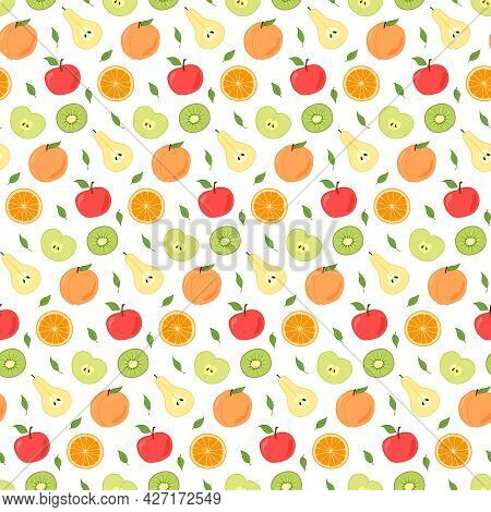 Seamless Repeating Pattern Of Fruits, Whole And Cut. Pears, Apples, Peaches And Oranges, Kiwi. Isola