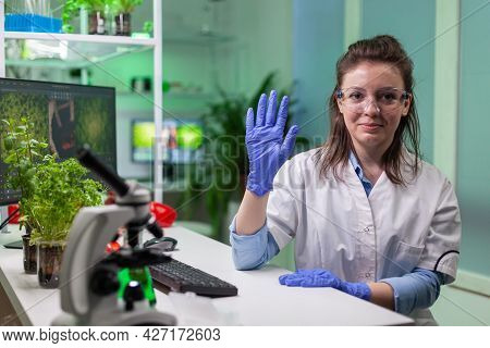 Pov Of Chemist Woman In White Coat Analyzing With Biologists Team During Online Videocall Meeting Wh
