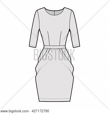 Dress Tulip Technical Fashion Illustration With Elbow Sleeves, Fitted Body, Knee Length Peg-top Penc