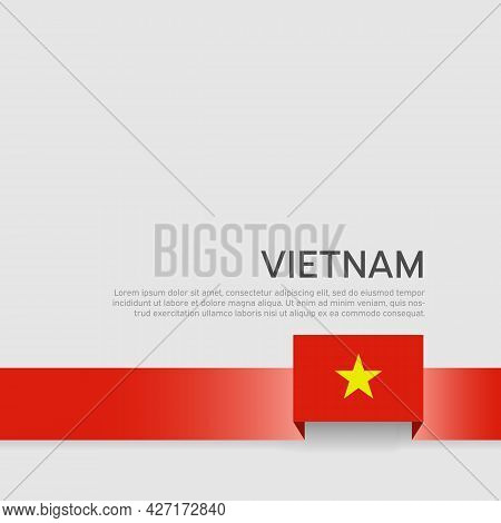 Vietnam Flag Background. State Vietnamese Patriotic Banner, Cover. Ribbon Color Flag Of Vietnam On A