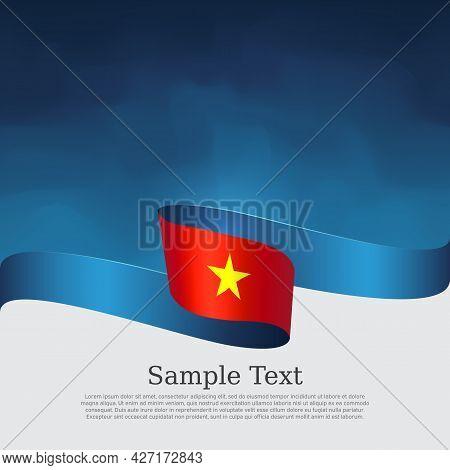 Vietnam Flag Background. Vector Brochure Design. State Vietnamese Patriotic Banner, Cover, Flyer. Fl