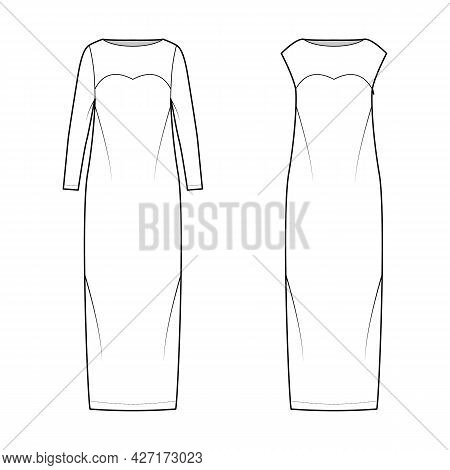 Set Of Dresses Column Technical Fashion Illustration With Long Sleeves, Sleeveless, Fitted Body, Flo