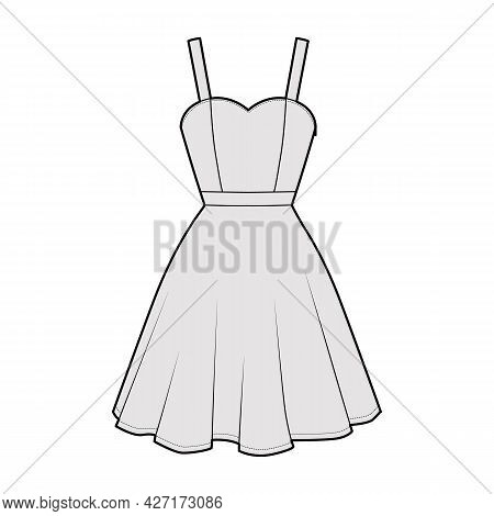 Dress Strap Technical Fashion Illustration Fitted Body, Knee Length Circular Skirt, Natural Waistlin