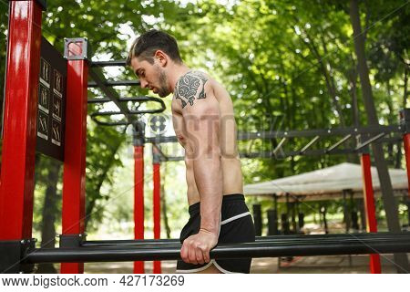 Profile Shot Of Sportsman Doing Triceps Dips Outdoors