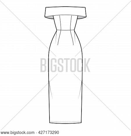 Dress Off-the-shoulder Bardot Technical Fashion Illustration With Sleeveless, Fitted Body, Floor Max