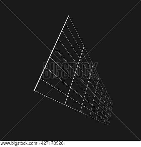 Retrofuturistic Perspective Elongated Grid At An Angle. Cyber Design Element. Grid In Cyberpunk 80s