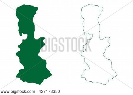 South Sikkim District (sikkim State, Republic Of India) Map Vector Illustration, Scribble Sketch Sou