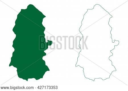 West Sikkim District (sikkim State, Republic Of India) Map Vector Illustration, Scribble Sketch West