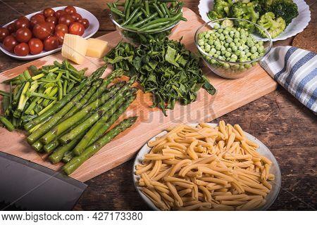Ingredients For Cooking Pasta Primavera - Pasta In A Dish, Beans, Asparagus, Broccoli, Peas, Tomato