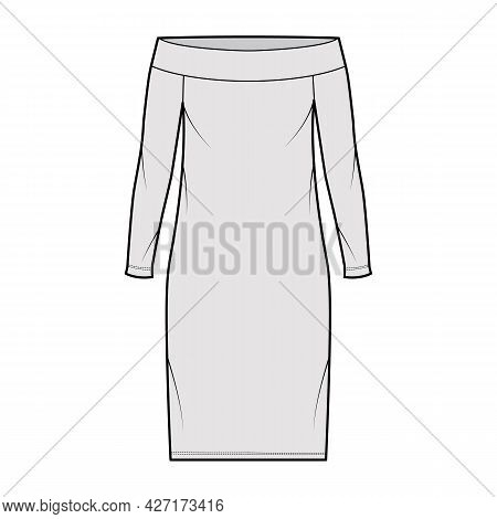 Dress Off-the-shoulder Bardot Technical Fashion Illustration With Long Sleeves, Oversized Body, Knee