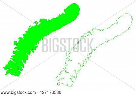 Severny Island (russia, Russian Federation, Novaya Zemlya Archipelago) Map Vector Illustration, Scri