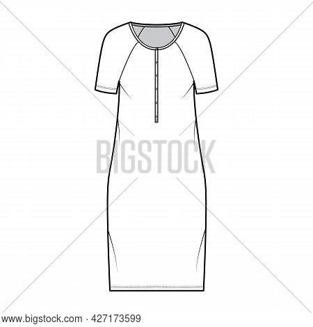 Dress Henley Collar Technical Fashion Illustration With Short Raglan Sleeves, Oversized Body, Knee L