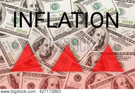 Arrow Of Red Triangles As Growth Inflation Process On Dollar Banknote Background. World Crisis Conce