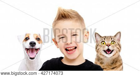 Portrait Of Happy Smiling Boy With A Funny Dog And A Cat Together Isolated On White Background