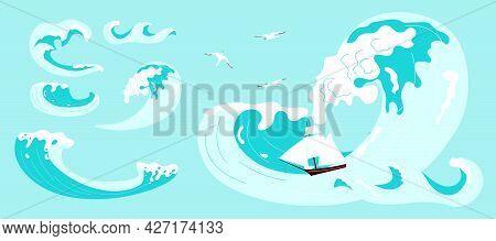 Set Of Sea Or Ocean Waves With Splash, Foam On Crest Design.