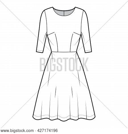 Dress Flared Skater Technical Fashion Illustration With Elbow Sleeves, Fitted Body, Knee Length Semi