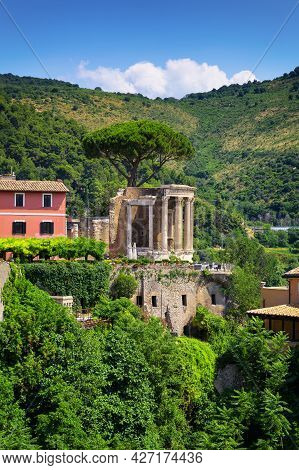 View Of The Tempio Della Sibilla In The Park Of Villa Gregoriana, Tivoli, Rome
