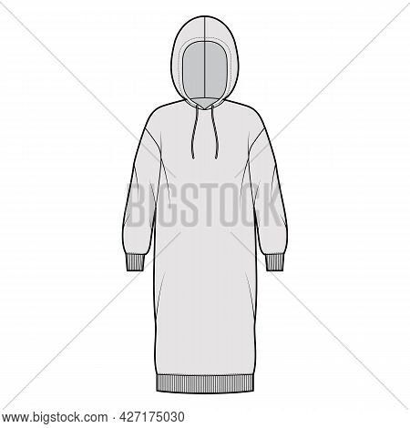 Dress Hoody Technical Fashion Illustration With Long Sleeves, Rib Cuff Oversized Body, Knee Length S