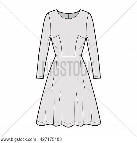 Dress Flared Skater Technical Fashion Illustration With Long Sleeves, Fitted Body, Knee Length Semi-
