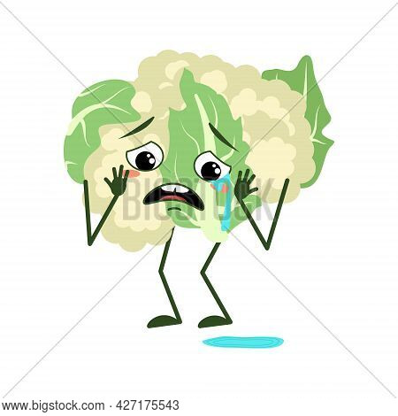 Cute Cauliflower Character With Crying And Tears Emotions, Face, Arms And Legs. The Funny Or Sad Gre